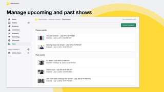 Manage upcoming and past shows