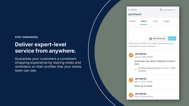 Create notes and tasks on customer profiles to stay organized.