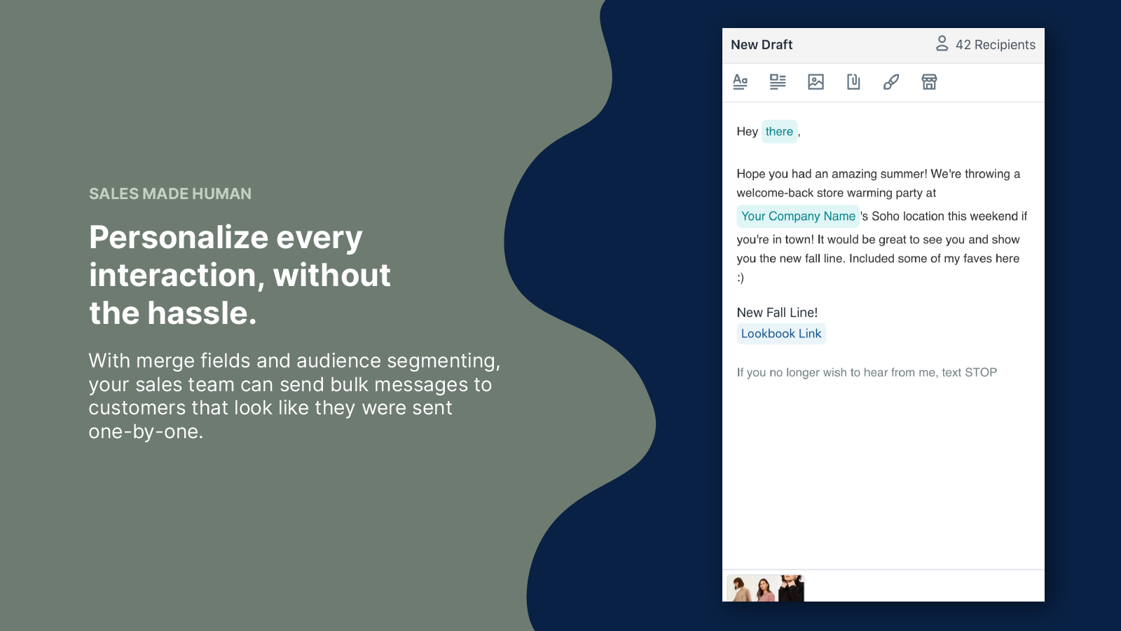 Send bulk messages that look like they were sent one by one.