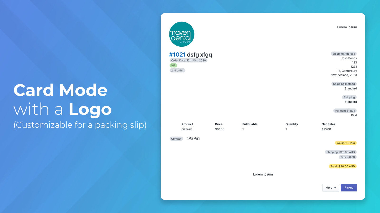 Card mode with a logo and all information for a packing slip
