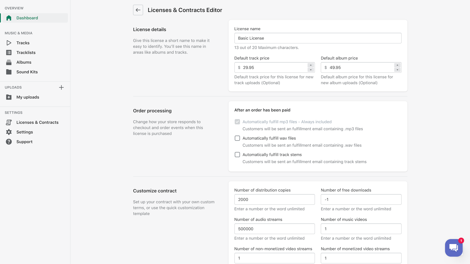 Create Licenses & Contracts