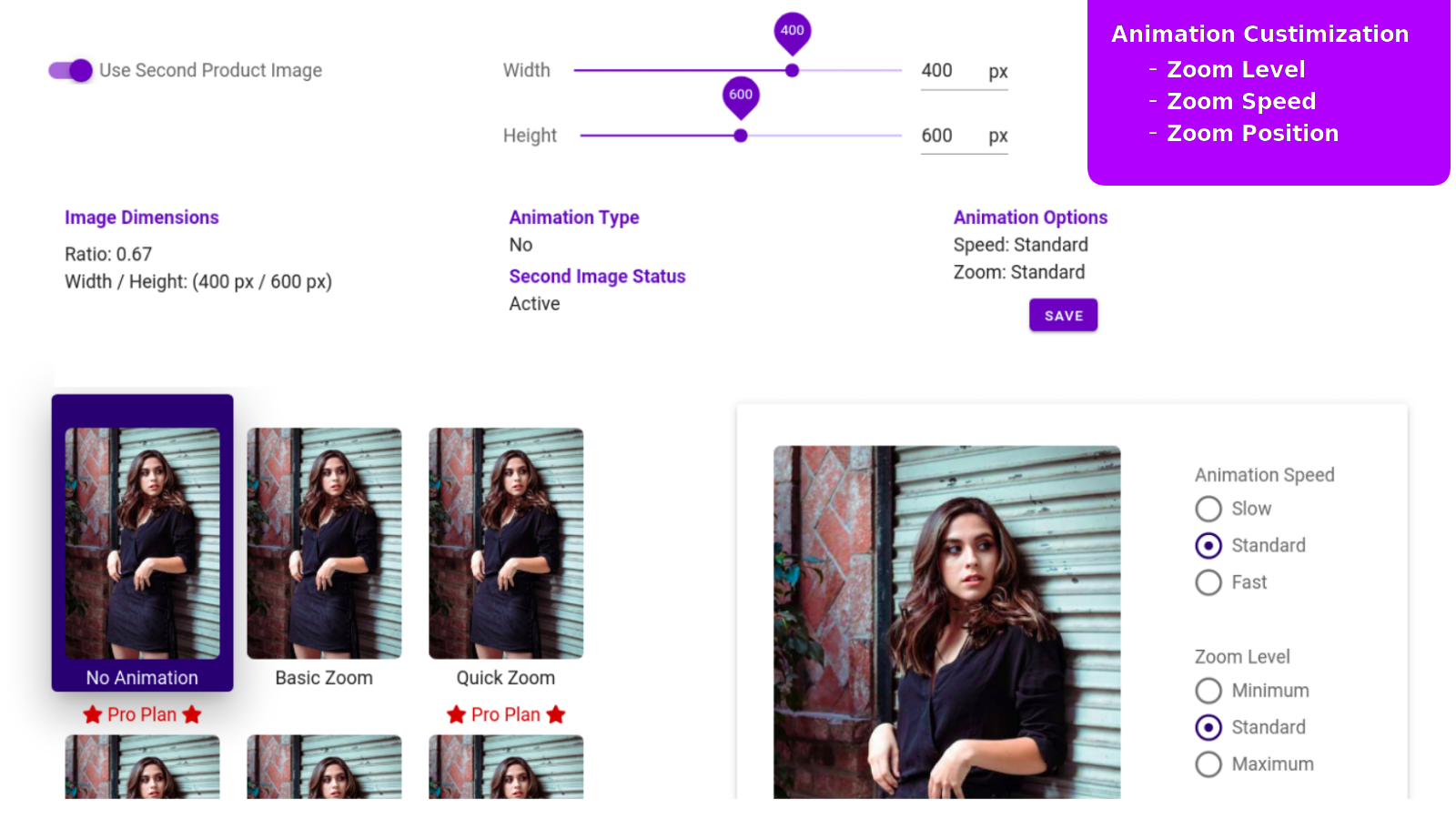 second image hover animation customization