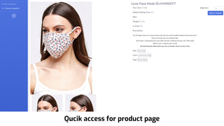 Quick access for product page
