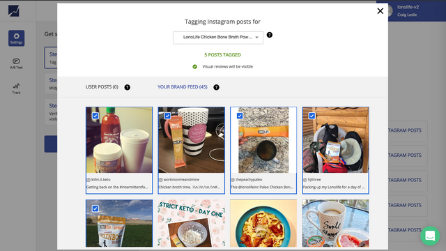 Easily choose posts you want to tag to the product