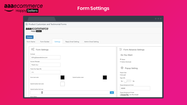 Product Option Field and Testimonial Form