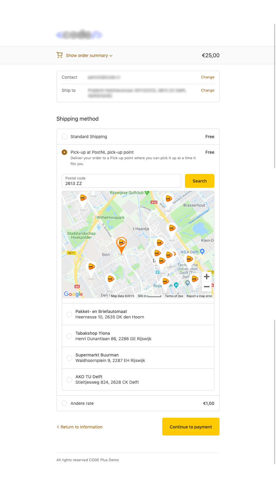 PostNL Pickup Points on your mobile phone