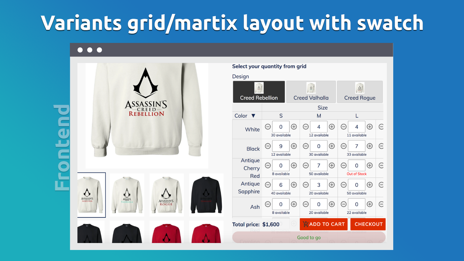 Variants grid/matrix layout with swatch