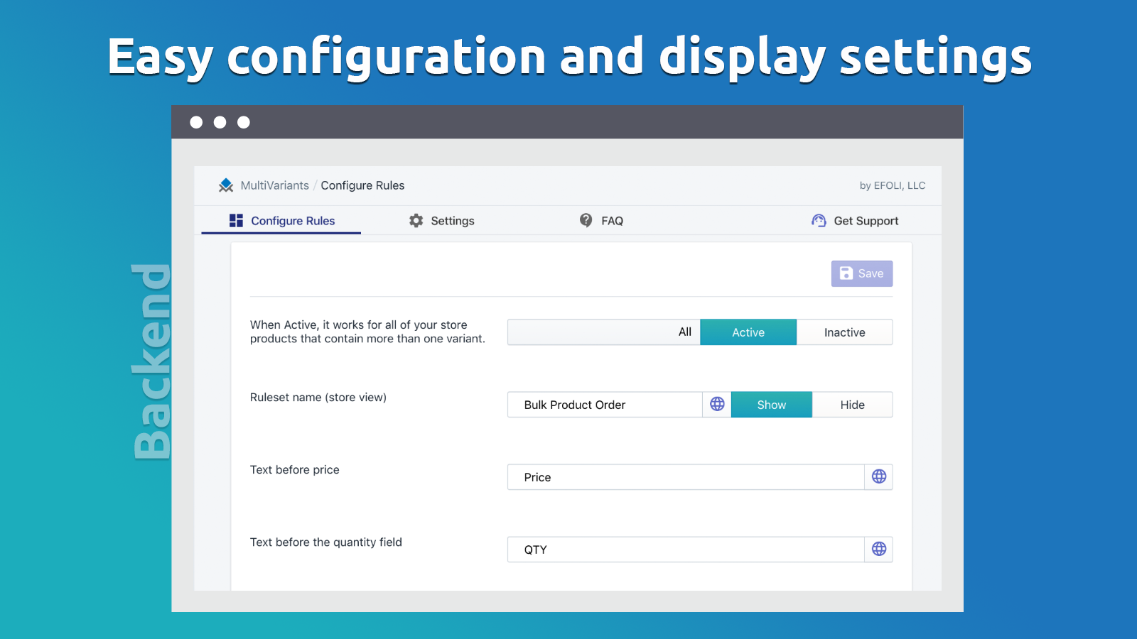 Easy configuration and display settings