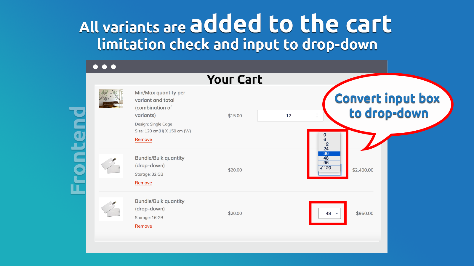 All variants are added to the cart at the same time