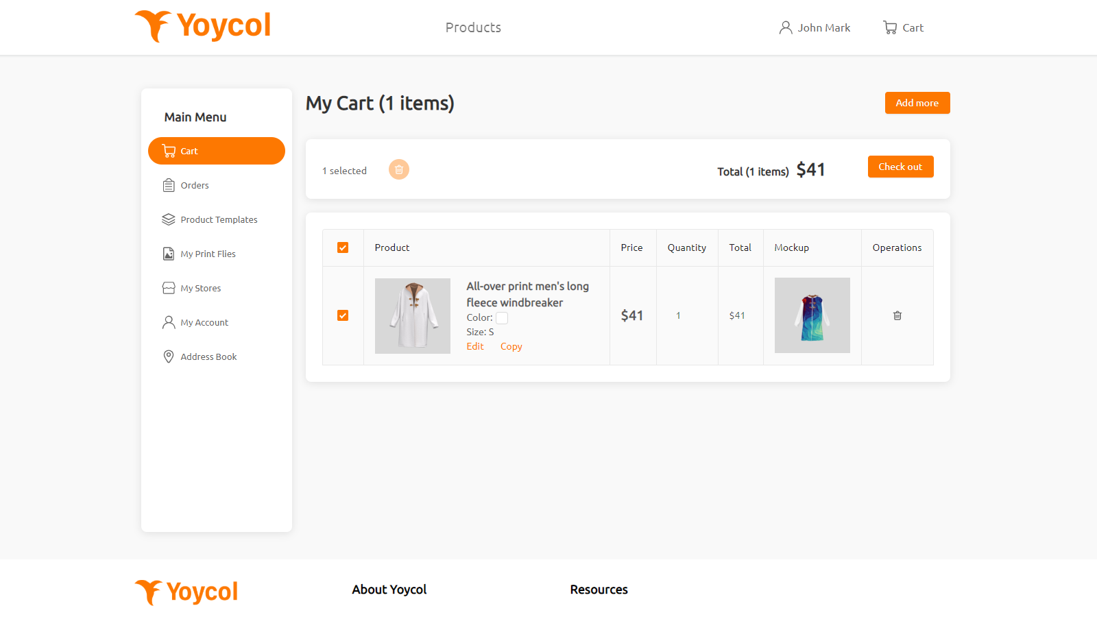 Cart preview