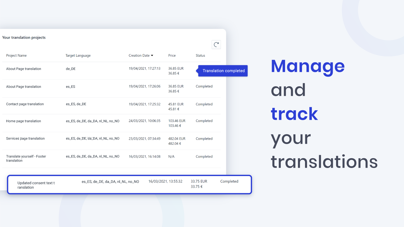 User interface manage your projects