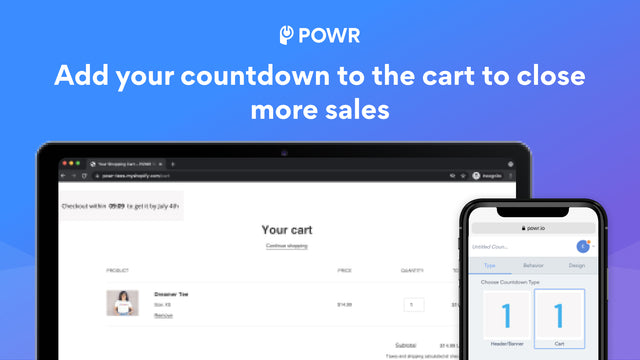 Add a countdown timer to your cart to get more sales.