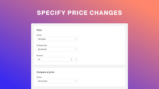 Specify price changes