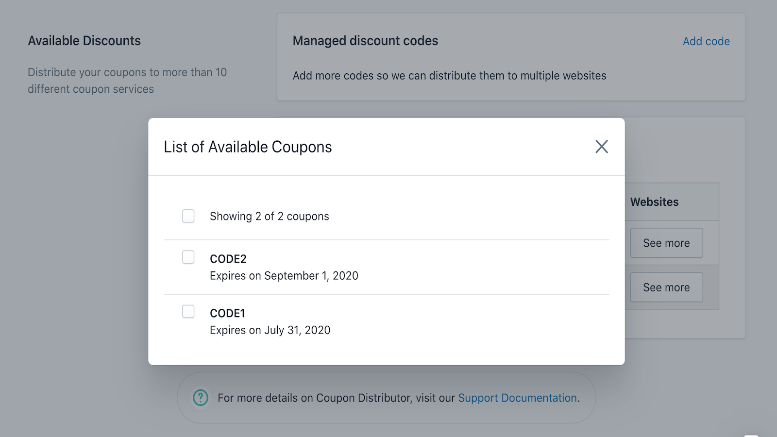 Select existing coupons