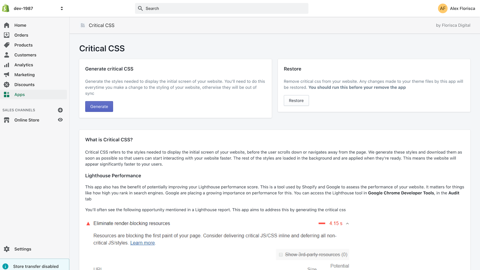 Generate critical css for your store