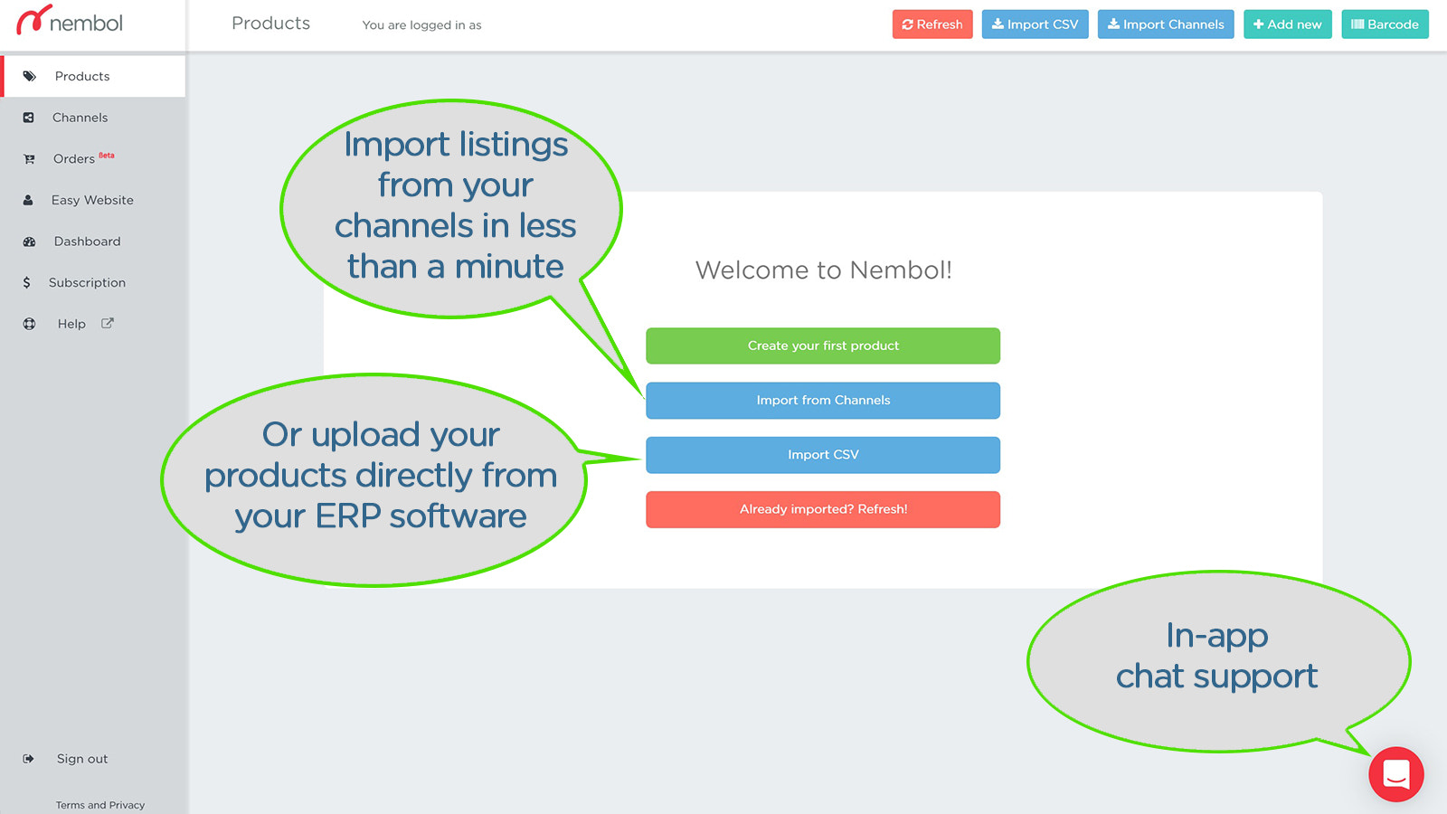 Import existing listings from different channels into Shopify