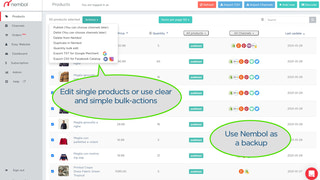 Use Nembol as a product backup, and edit listings in bulk.