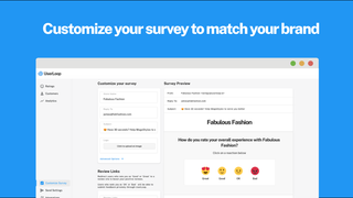 Customize your survey with your own logo and reaction emojis.