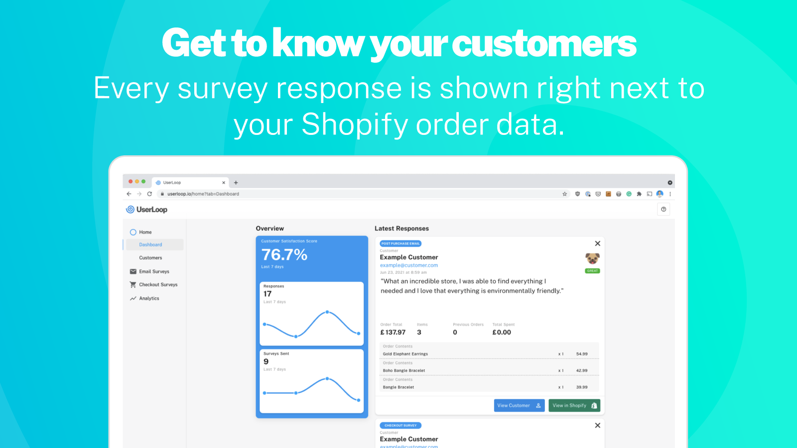 See customer responses right next to order and revenue data
