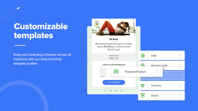 Pre-built fully customizable email, SMS, FBM messaging templates
