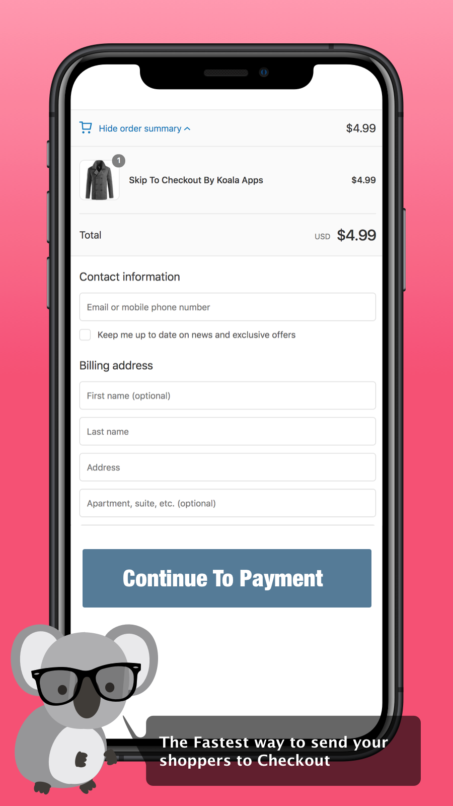 Mobile Skip to Checkout example reach to checkout