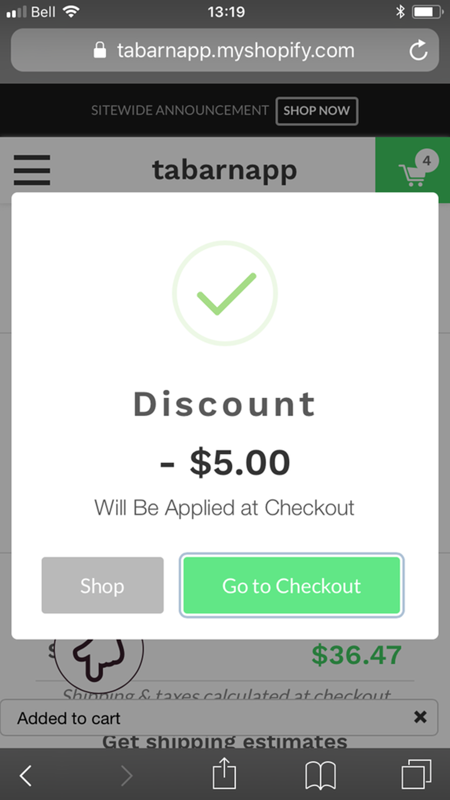 automatic discount popup