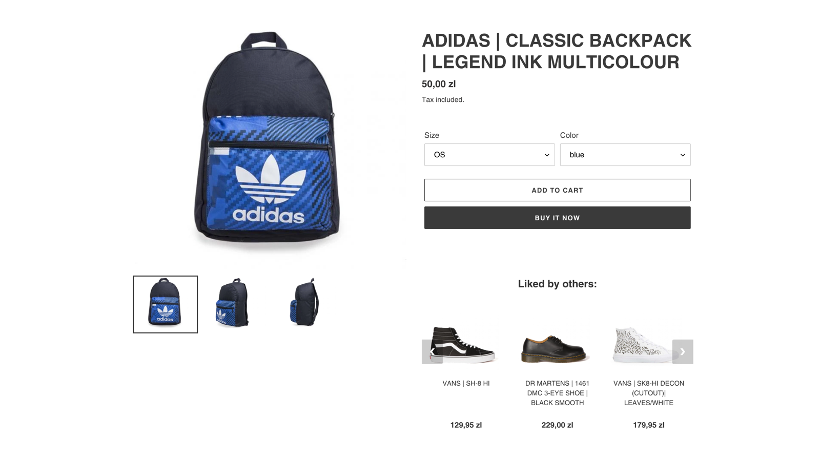 Example recommendation on product page
