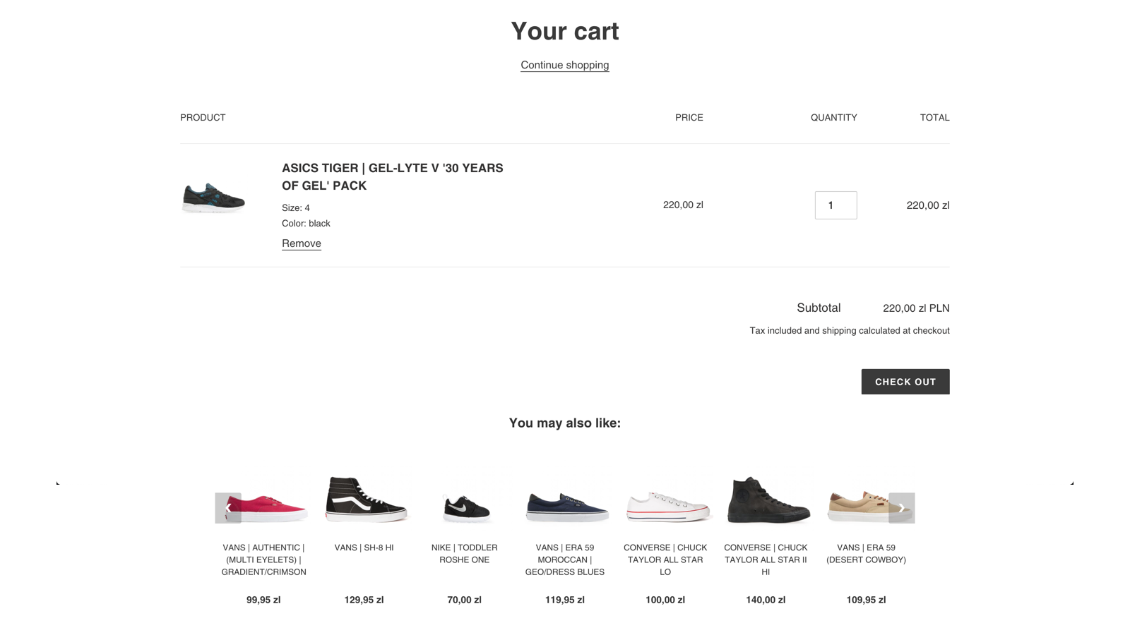 Example recommendation on shopping cart page