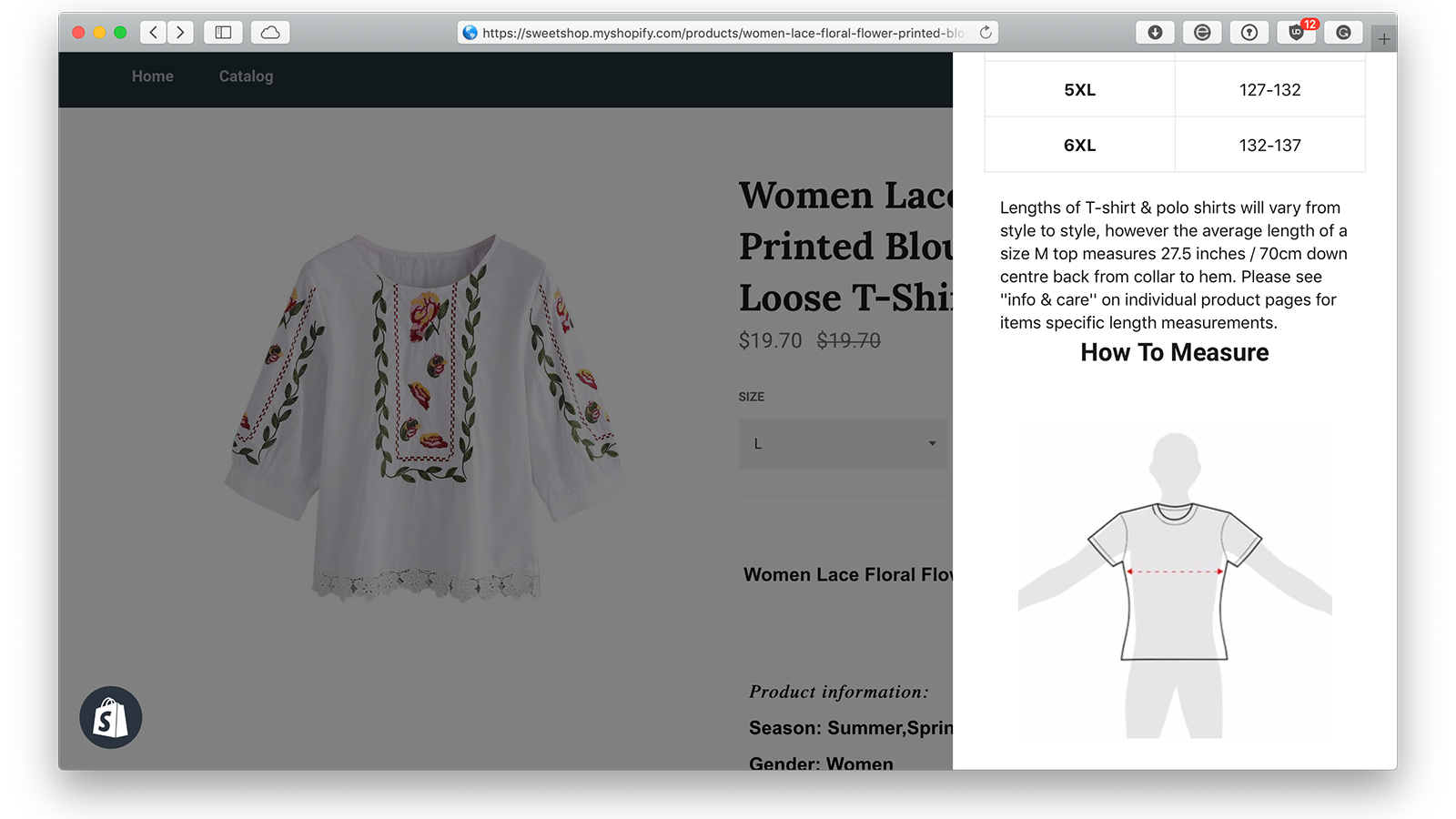 Sizing Guide widget for clothing size matters, Guide des tailles