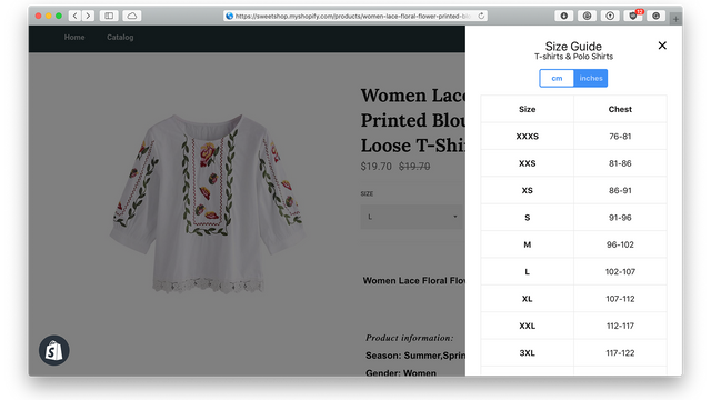 Sizing chart widget for clothing, product Size matters