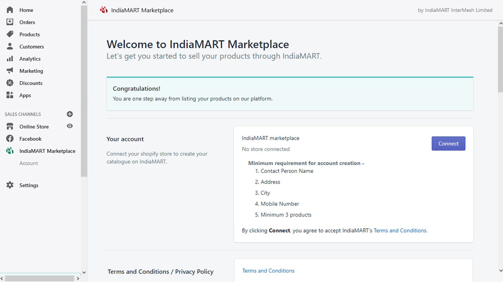 Connect shopify account screen