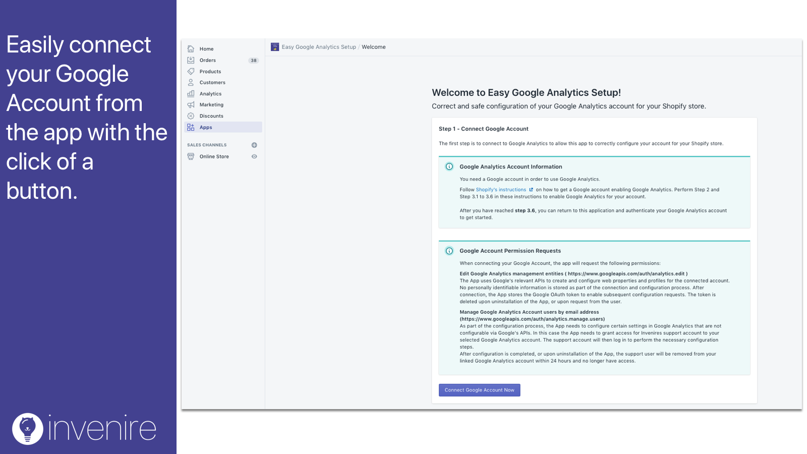 google analytics accounts can be easily connected in the app.