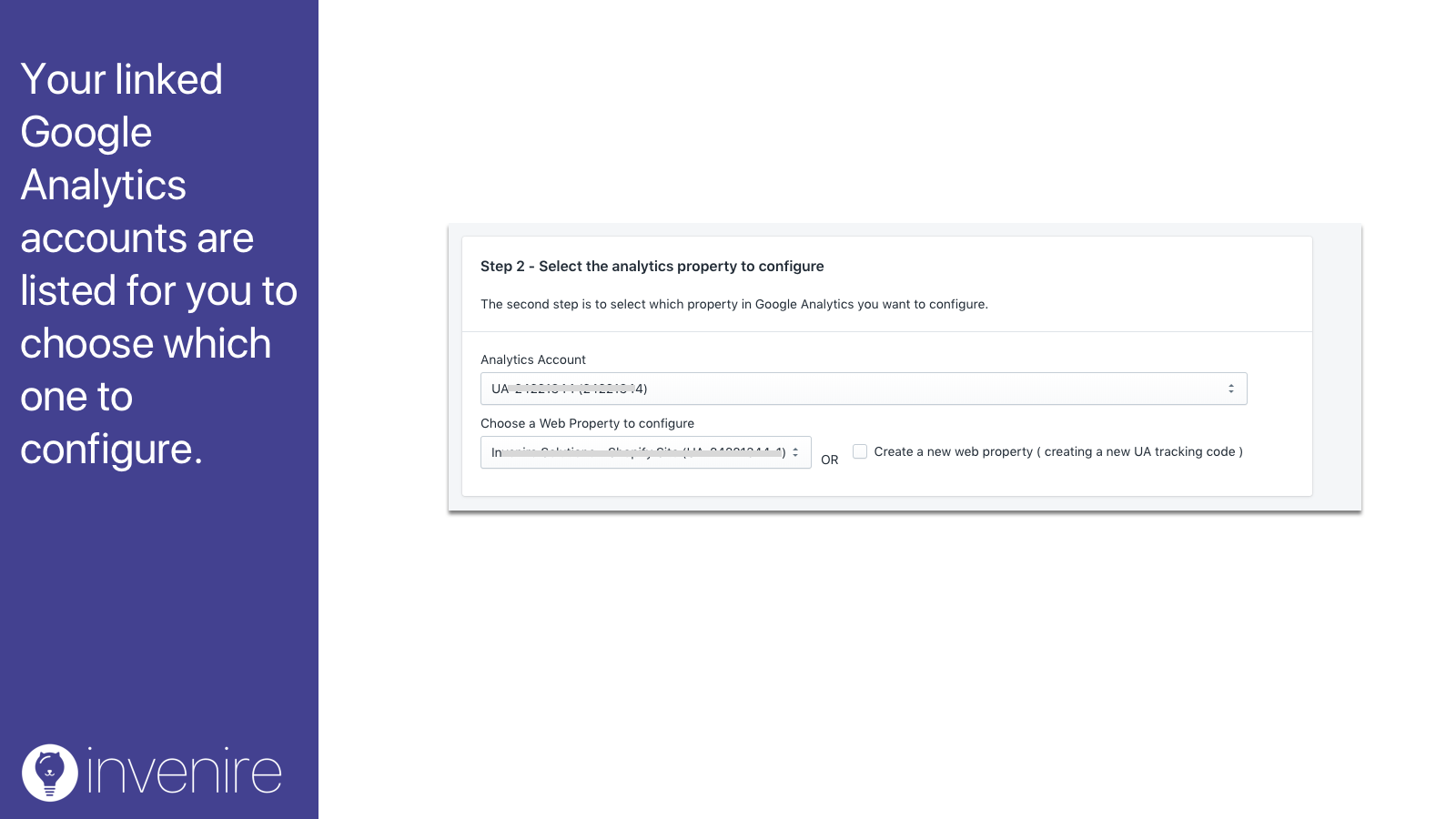 Choose which Google Analytics web property to configure