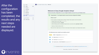 See results of your Google Analytics account configuration.