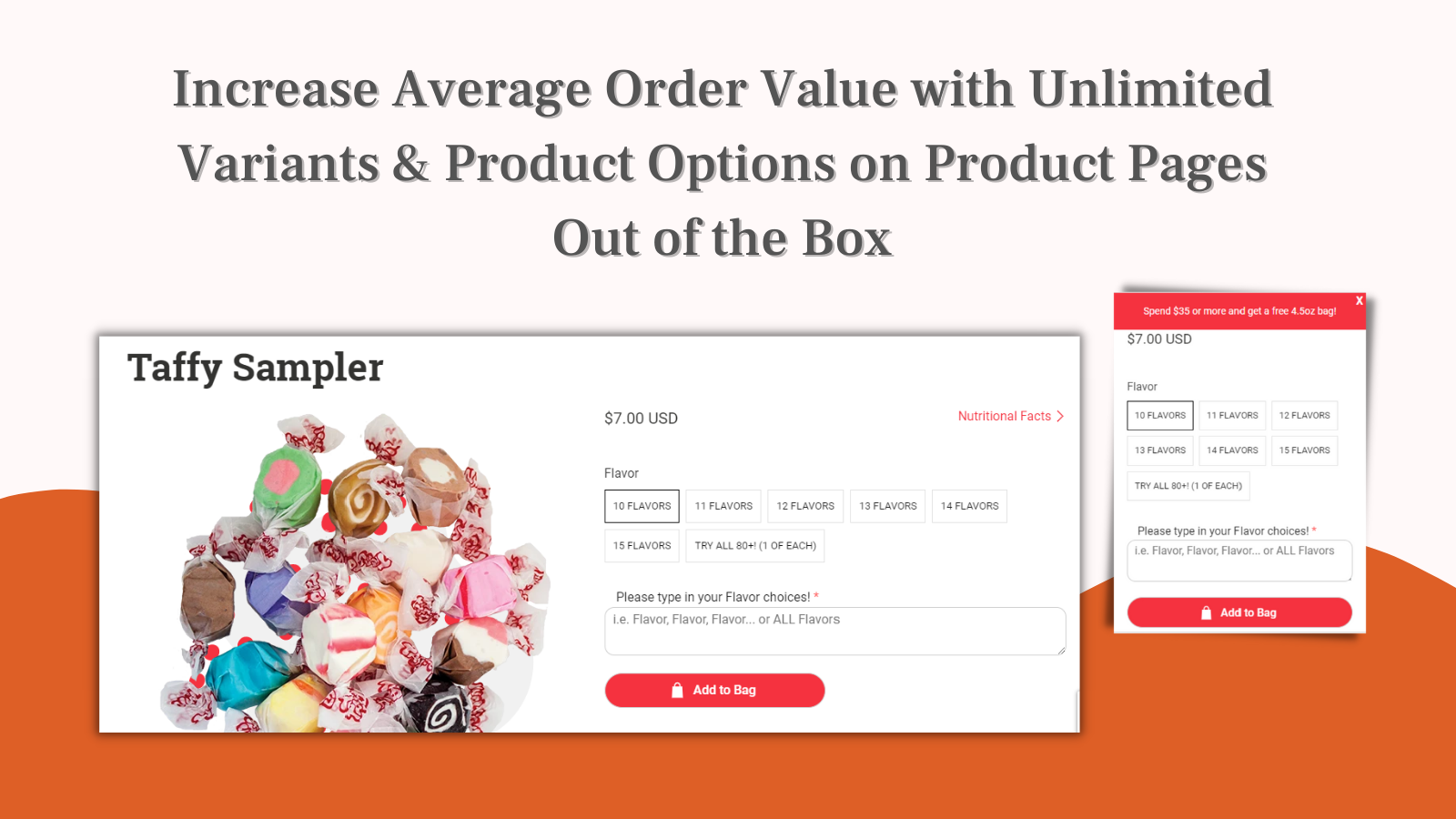 Mobile responsive multiple product options