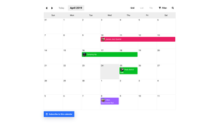 Event Calendar App Grid View
