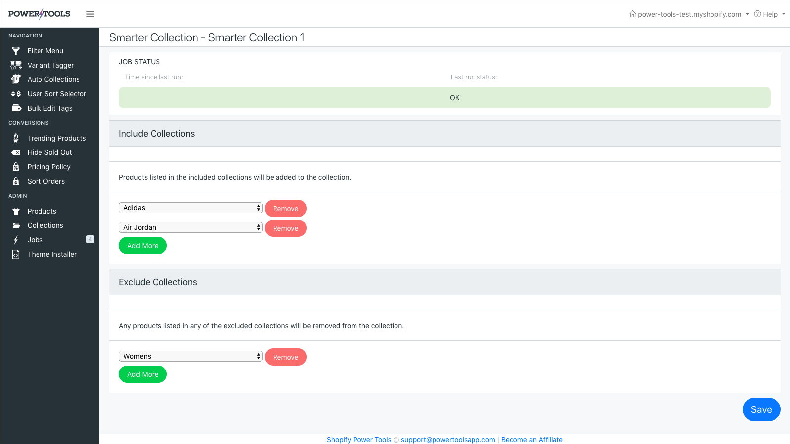 Smarter collections include and exclude other collections
