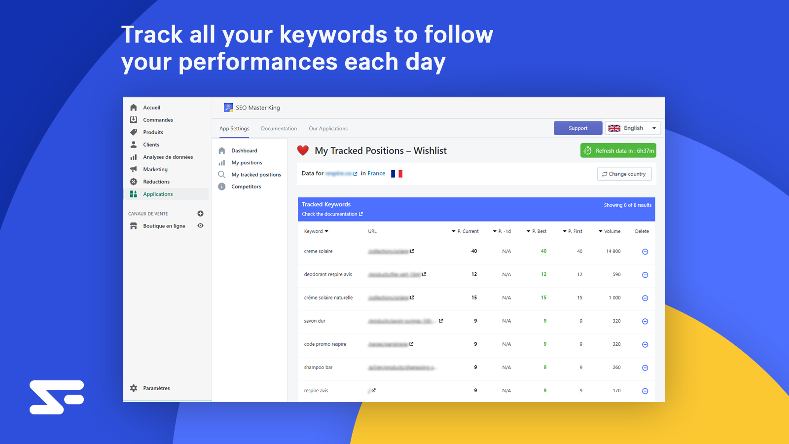 Track all your keywords to follow your performances each day