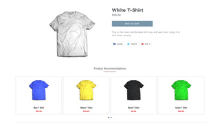 Sample of Product Page with Recommendations