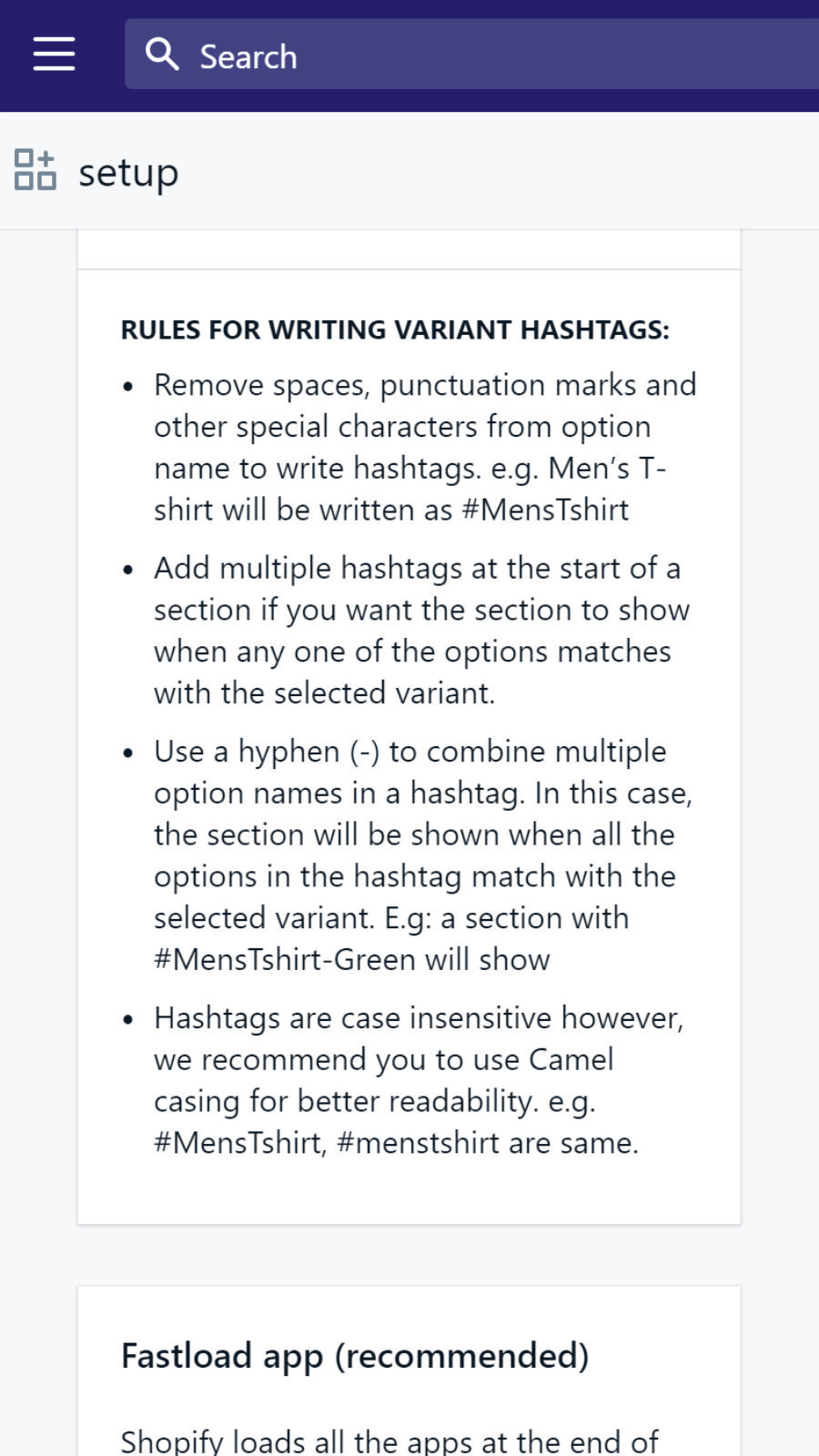 Use easy hashtags to create different description for variants