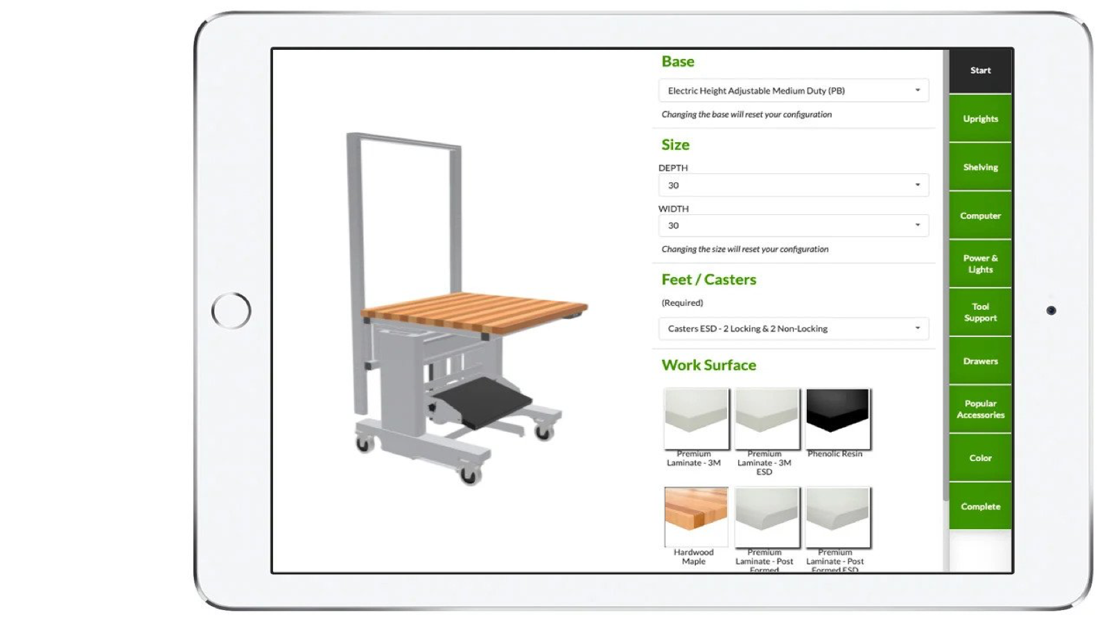 Our product customizer allows flexibility in three dimensions.