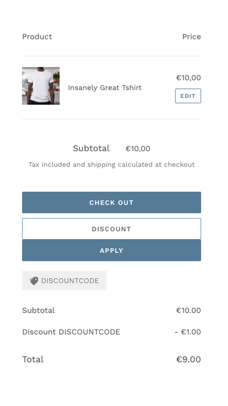 Discountcode input field on the cart page