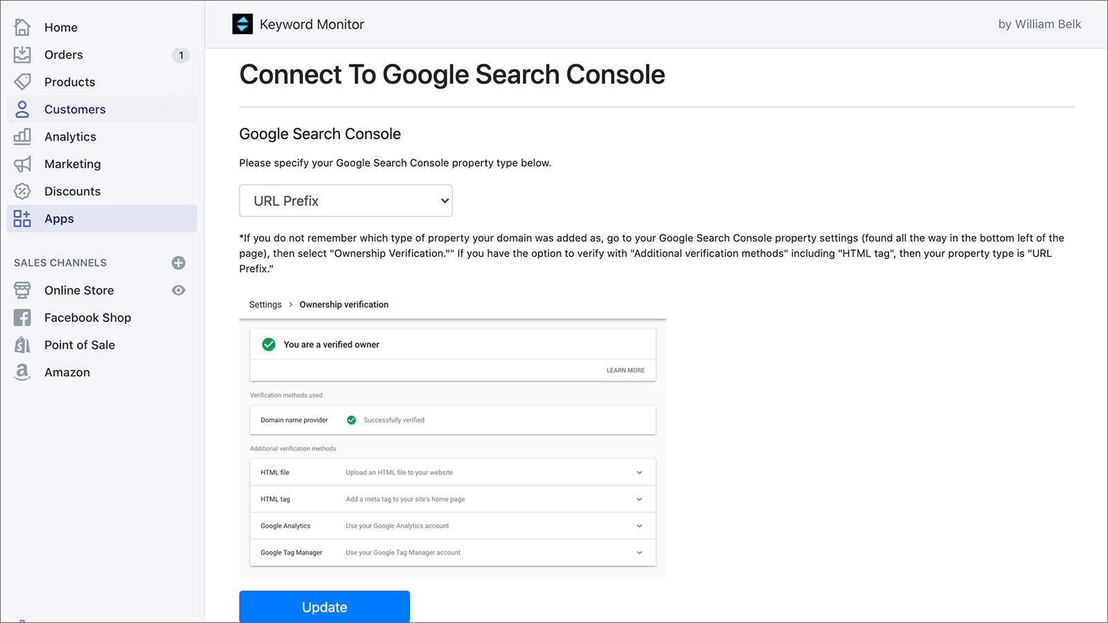 Connect to Google Search Console