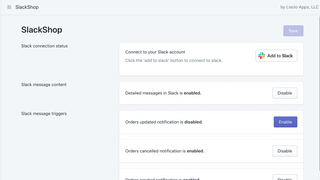 SlackShop configuration screen