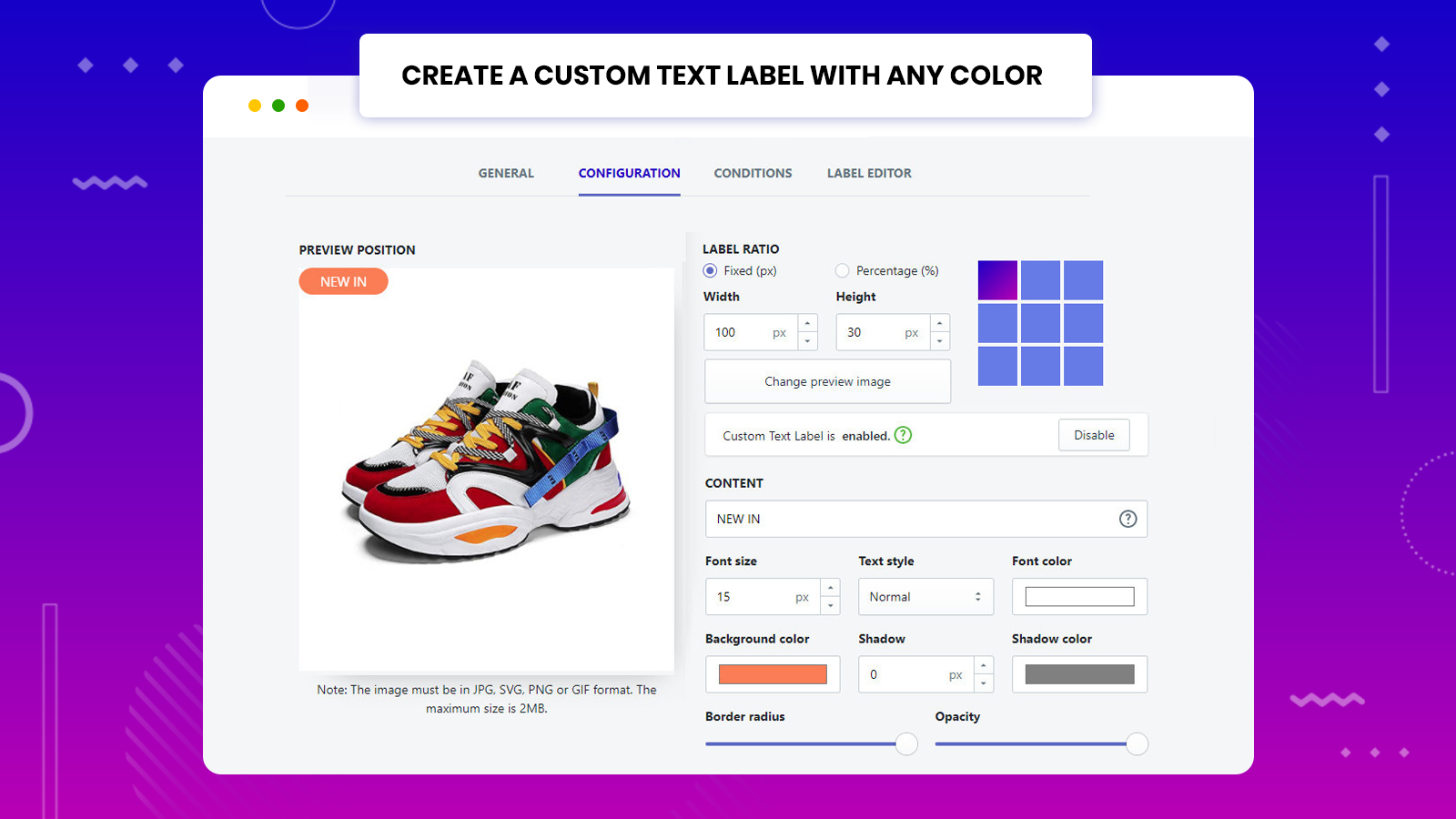 Or use the dynamic custom-text label