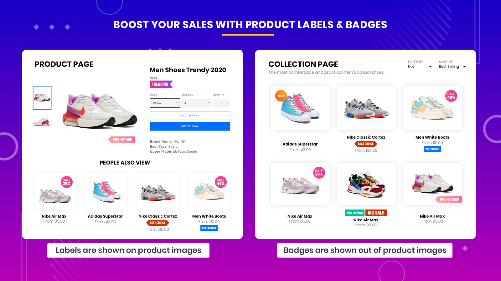 Show products labels on products pages, collections, and pages