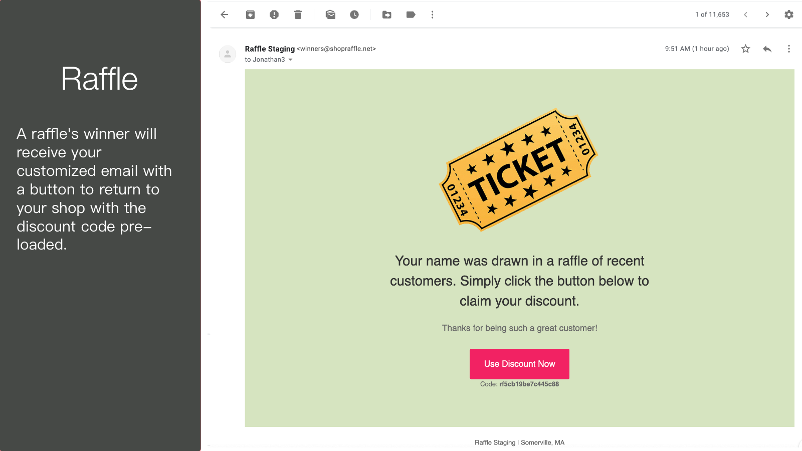 Winner's email to return to shop with discount enabled.