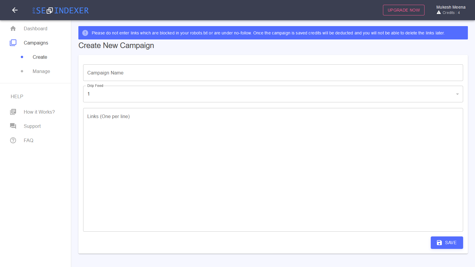 ProSEOIndexer - Create Campaign