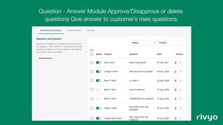 Question and Answers in App admin