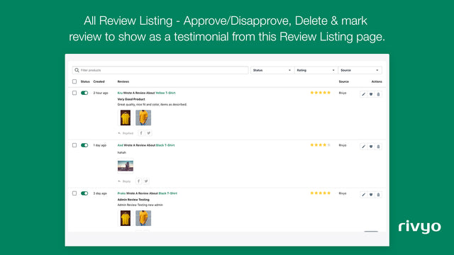 Review List in App Admin